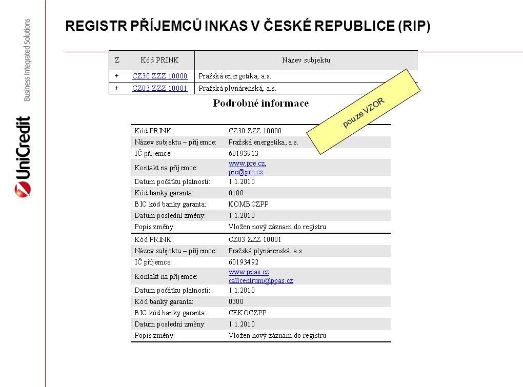 REGISTR PŘÍJEMCŮ INKAS V ČESKÉ REPUBLICE (RIP)