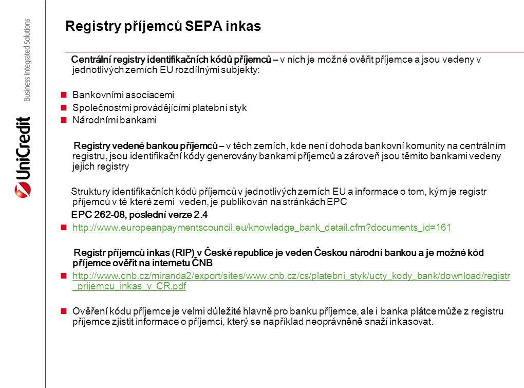 Registry příjemců SEPA inkas