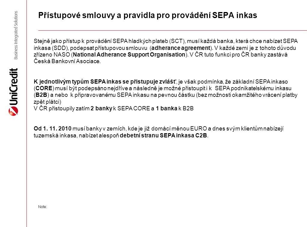 Přístupové smlouvy a pravidla pro provádění SEPA inkas