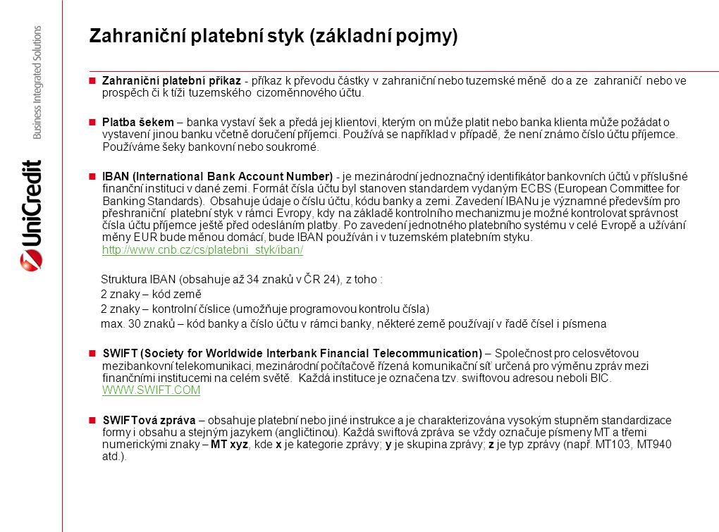 Zahraniční platební styk (základní pojmy)