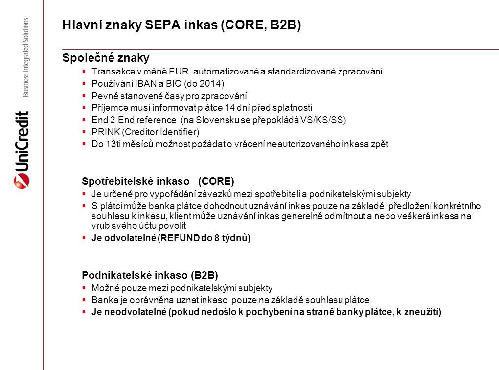 Hlavní znaky SEPA inkas (CORE, B2B)