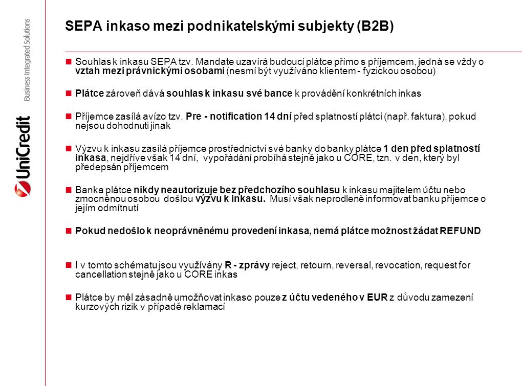 SEPA inkaso mezi podnikatelskými subjekty (B2B)