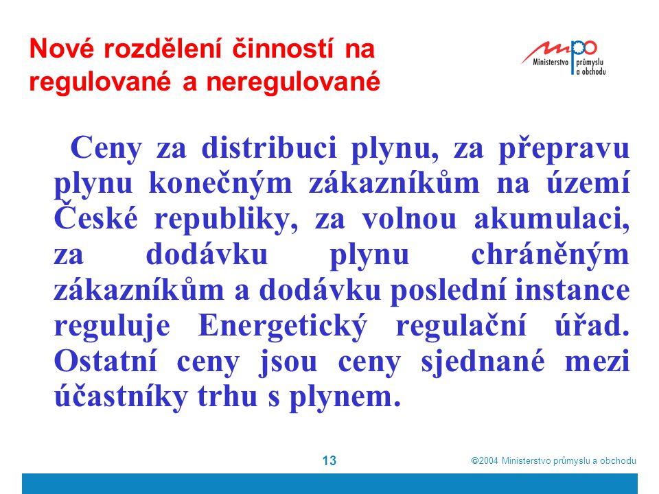 Nové rozdělení činností na regulované a neregulované
