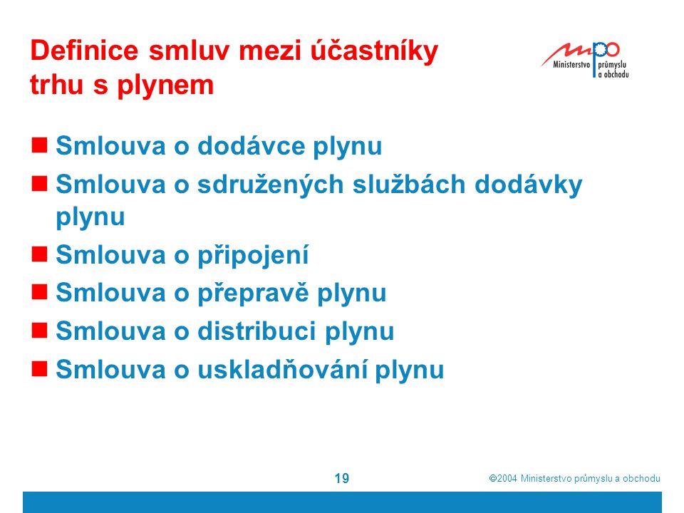 Definice smluv mezi účastníky trhu s plynem