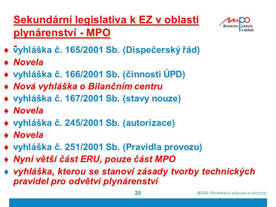 Sekundární legislativa k EZ v oblasti plynárenství - MPO -