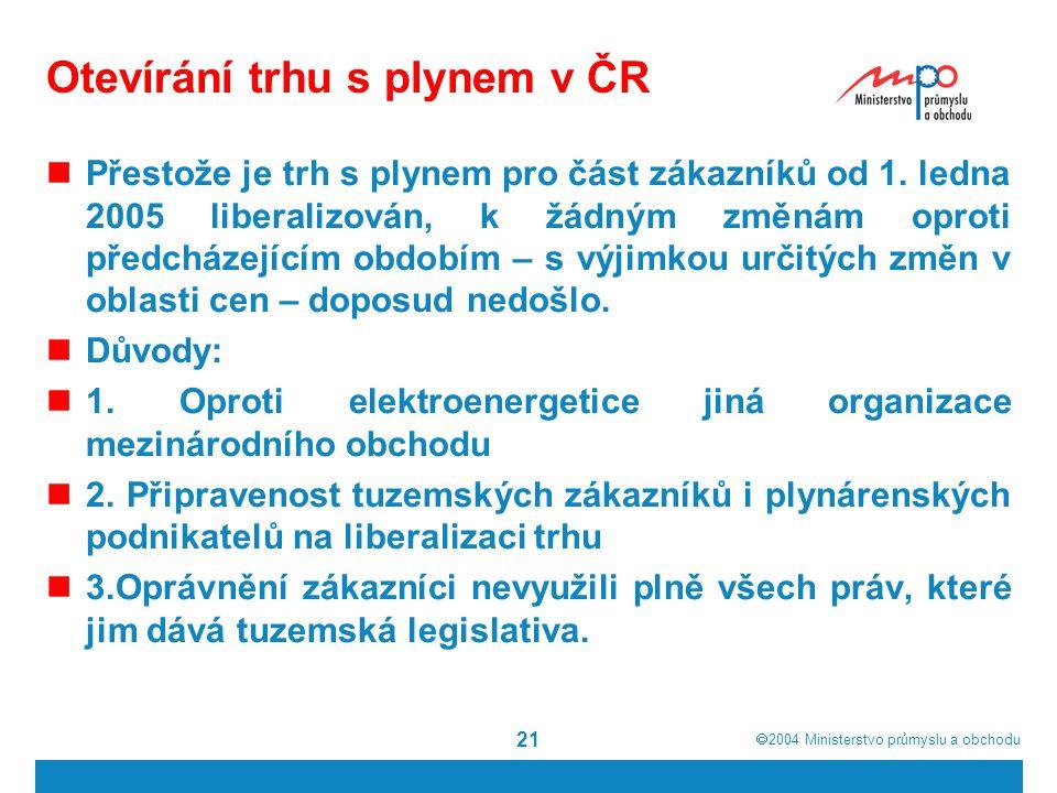 Otevírání trhu s plynem v ČR