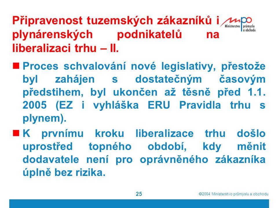Připravenost tuzemských zákazníků i plynárenských podnikatelů na liberalizaci trhu – II.