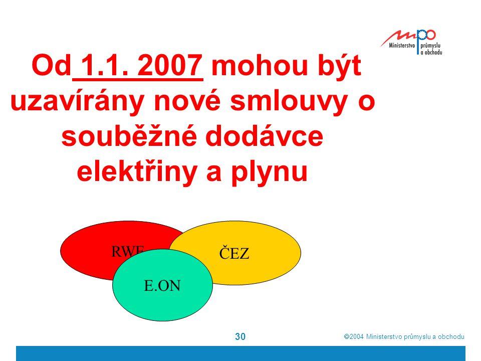 Od 1.1. 2007 mohou být uzavírány nové smlouvy o souběžné dodávce elektřiny a plynu
