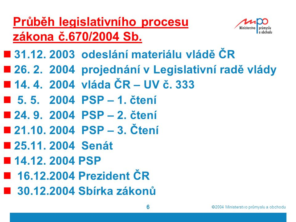 Průběh legislativního procesu zákona č.670/2004 Sb.