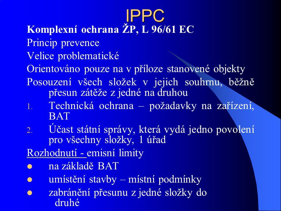 IPPC Komplexní ochrana ŽP, L 96/61 EC Princip prevence
