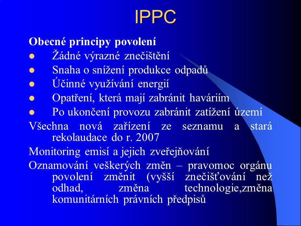 IPPC Obecné principy povolení Žádné výrazné znečištění
