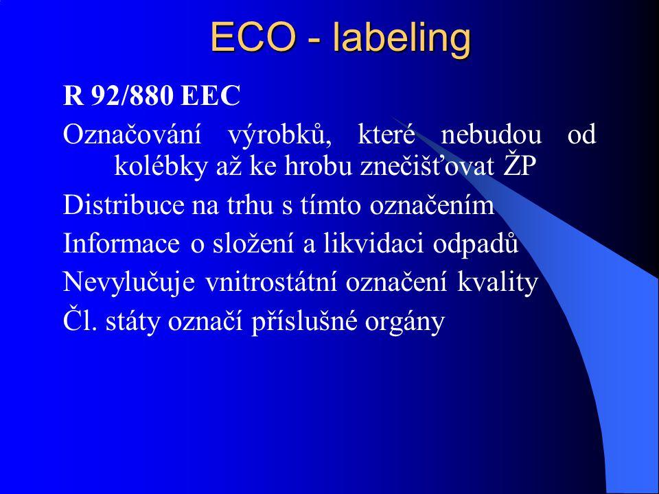 ECO - labeling R 92/880 EEC. Označování výrobků, které nebudou od kolébky až ke hrobu znečišťovat ŽP.