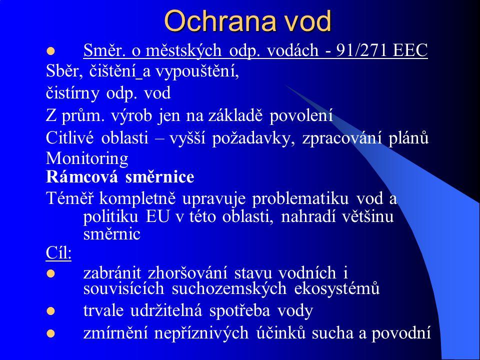 Ochrana vod Směr. o městských odp. vodách - 91/271 EEC