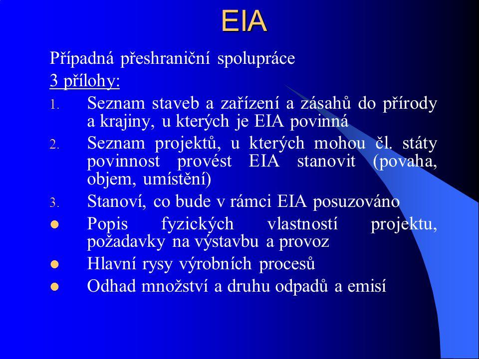 EIA Případná přeshraniční spolupráce 3 přílohy: