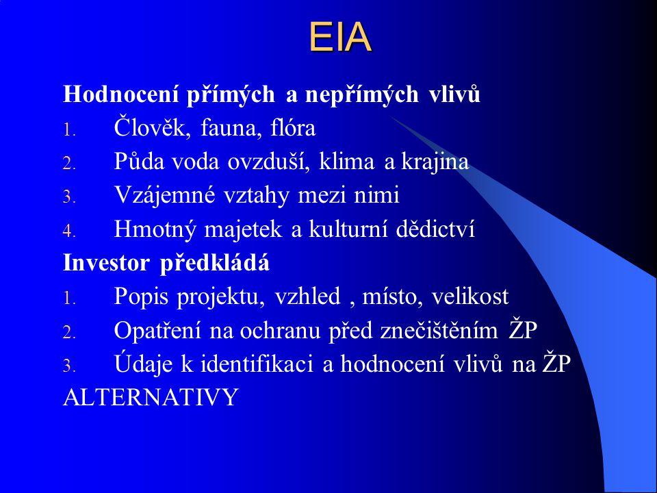 EIA Hodnocení přímých a nepřímých vlivů Člověk, fauna, flóra