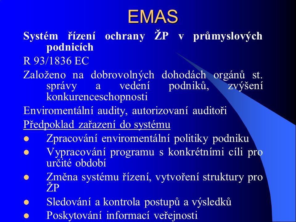 EMAS Systém řízení ochrany ŽP v průmyslových podnicích R 93/1836 EC