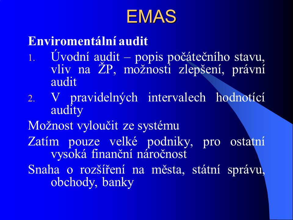 EMAS Enviromentální audit