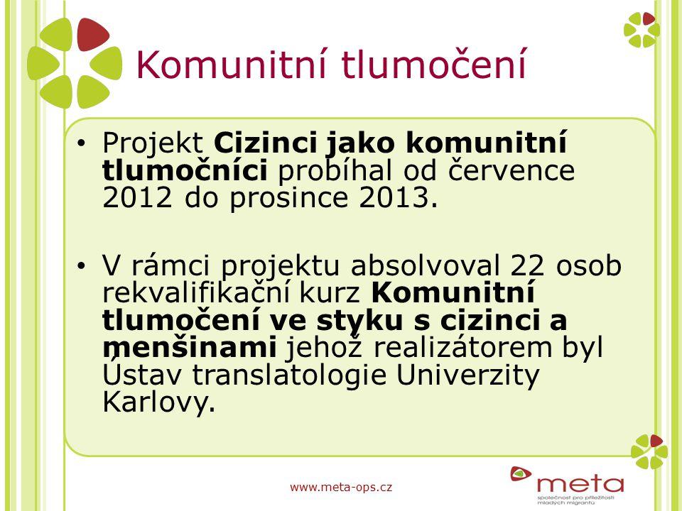 Komunitní tlumočení Projekt Cizinci jako komunitní tlumočníci probíhal od července 2012 do prosince 2013.