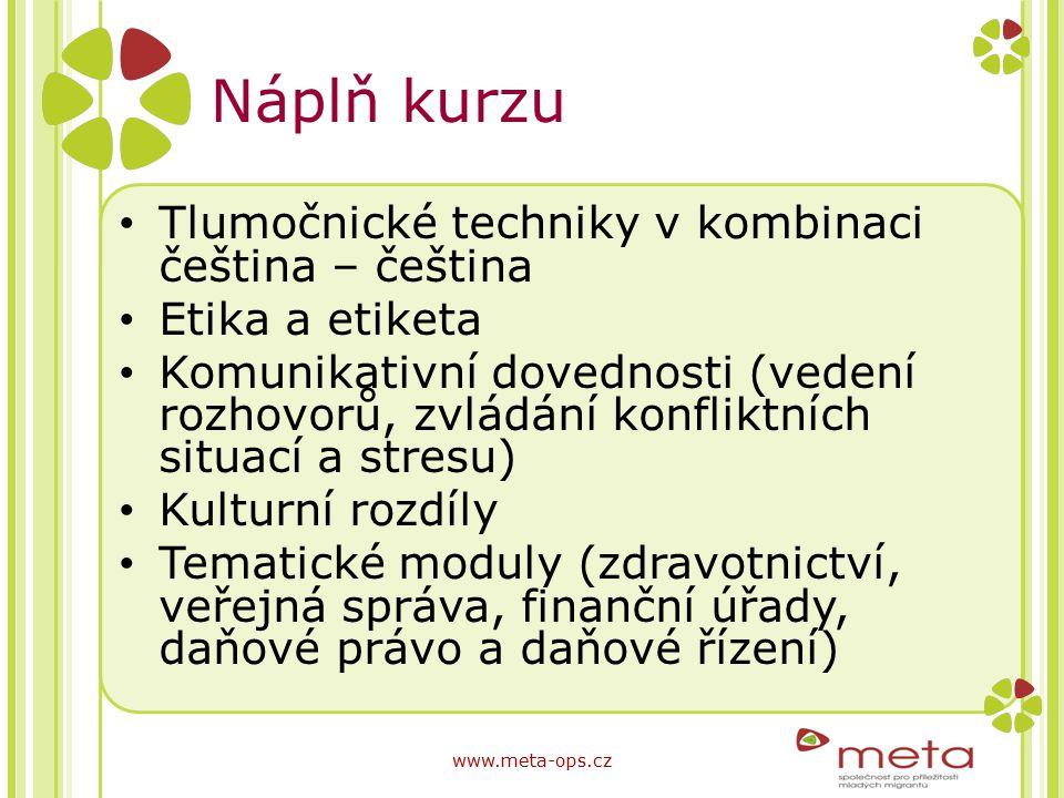 Náplň kurzu Tlumočnické techniky v kombinaci čeština – čeština