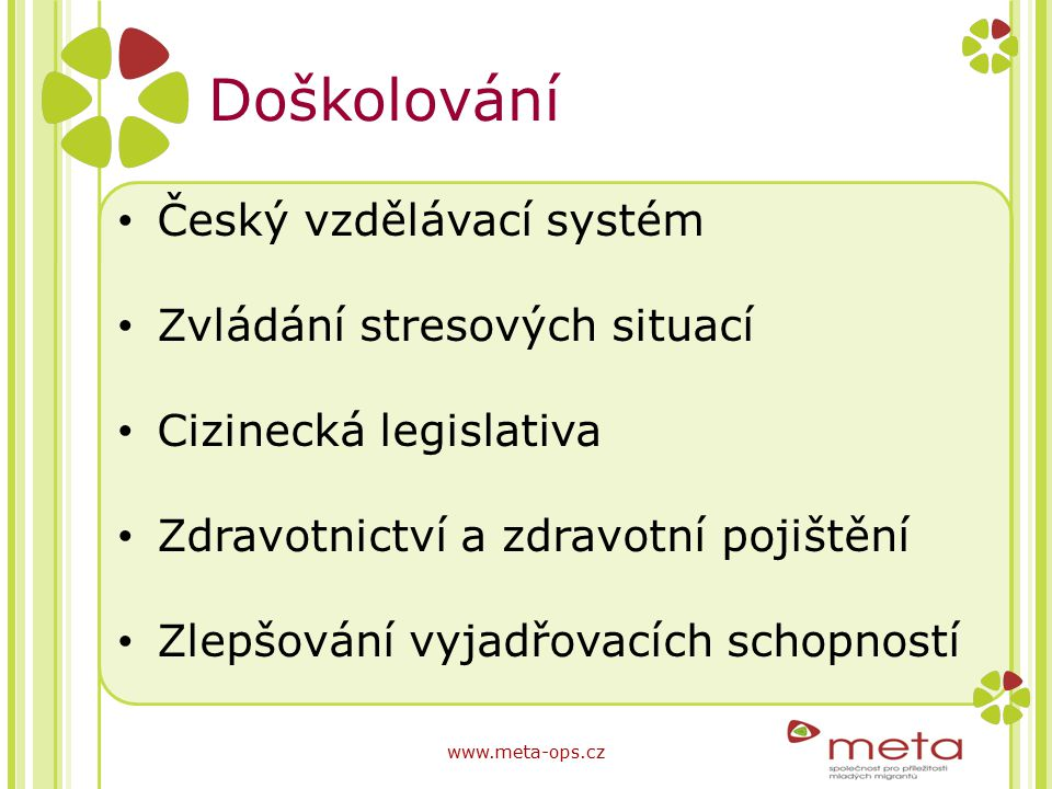 Doškolování Český vzdělávací systém Zvládání stresových situací