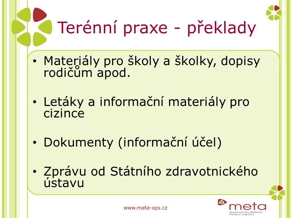 Terénní praxe - překlady