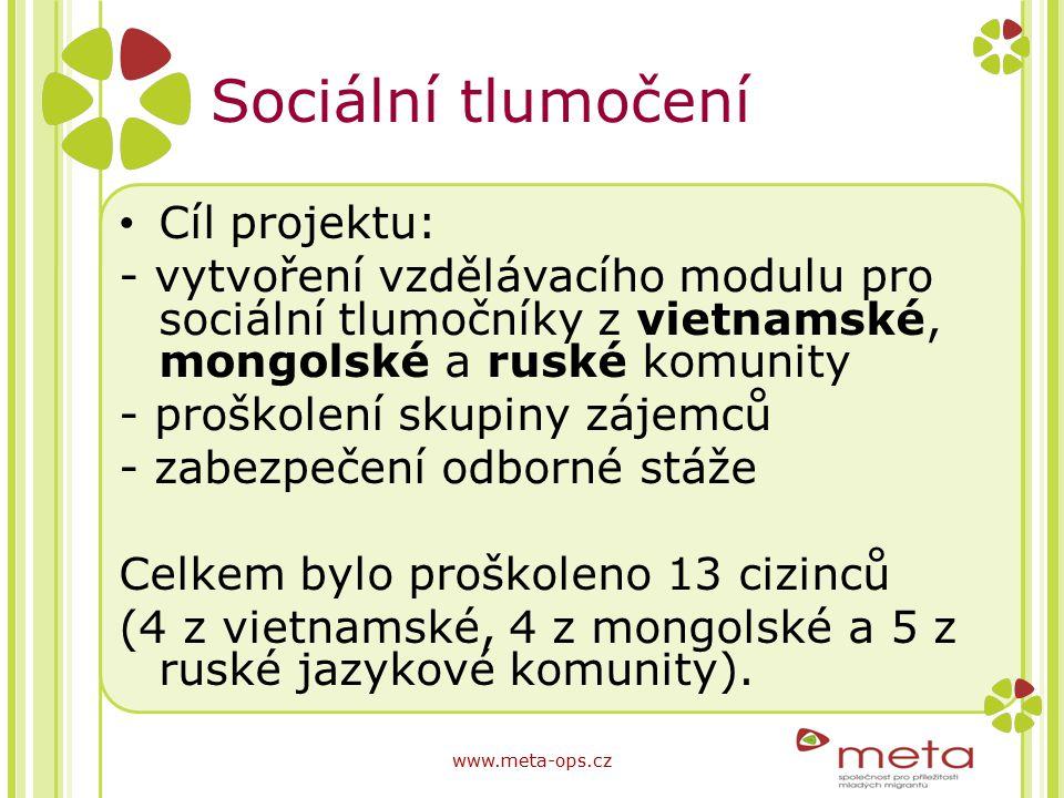 Sociální tlumočení Cíl projektu: