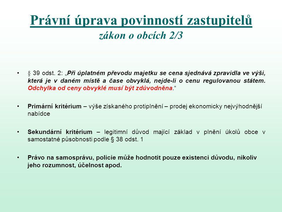 Právní úprava povinností zastupitelů zákon o obcích 2/3