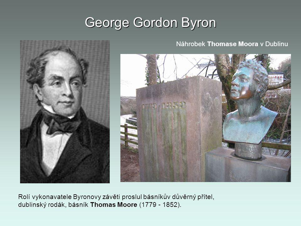 George Gordon Byron Náhrobek Thomase Moora v Dublinu