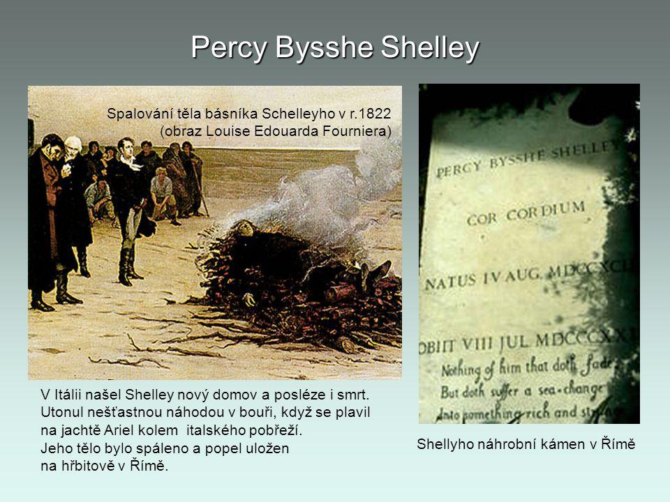 Percy Bysshe Shelley Spalování těla básníka Schelleyho v r.1822 (obraz Louise Edouarda Fourniera)