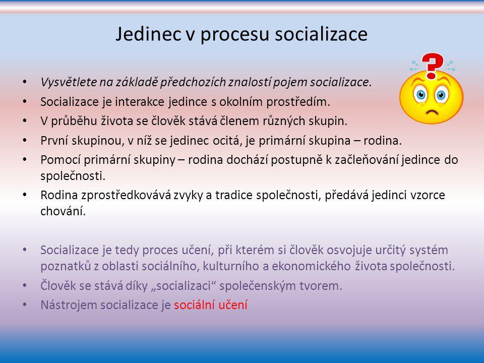 Jedinec v procesu socializace
