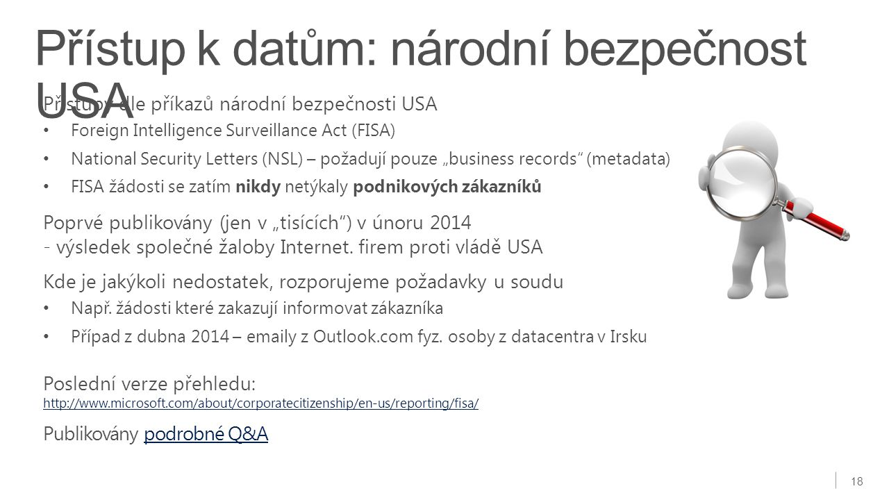 Přístup k datům: národní bezpečnost USA