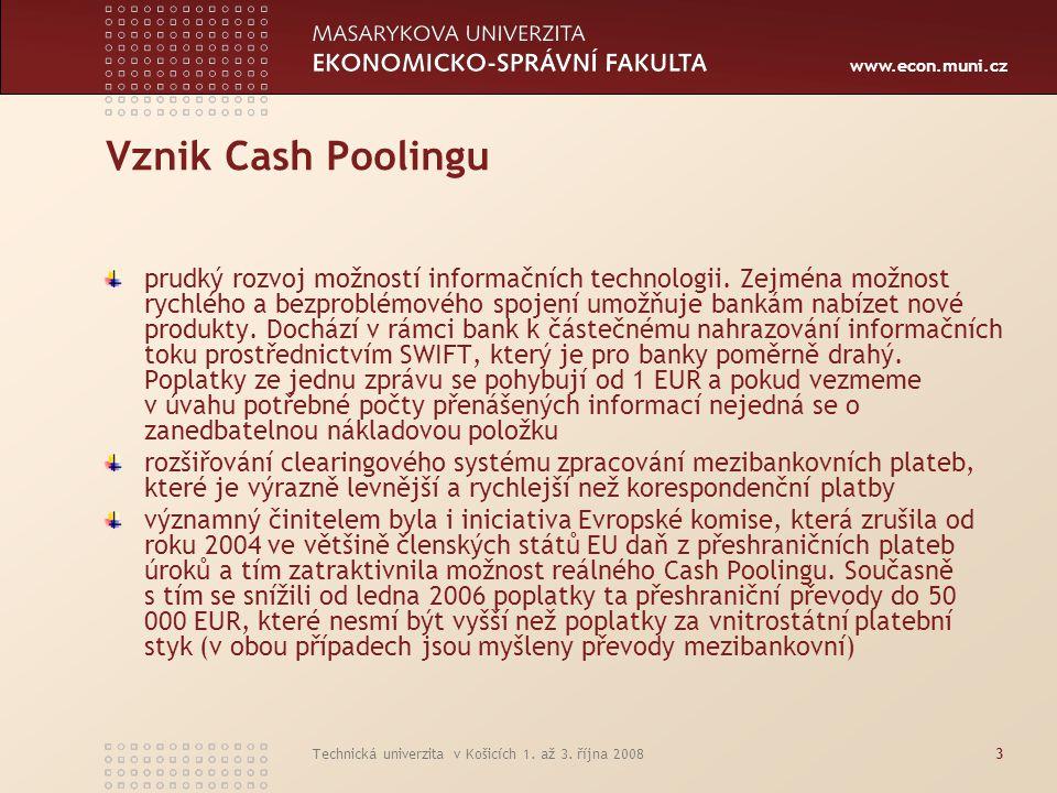 Vznik Cash Poolingu