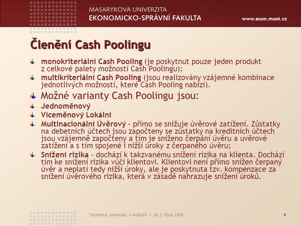 Členění Cash Poolingu Možné varianty Cash Poolingu jsou: