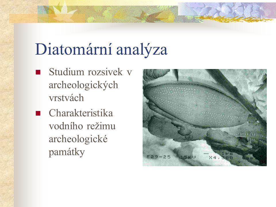Diatomární analýza Studium rozsivek v archeologických vrstvách