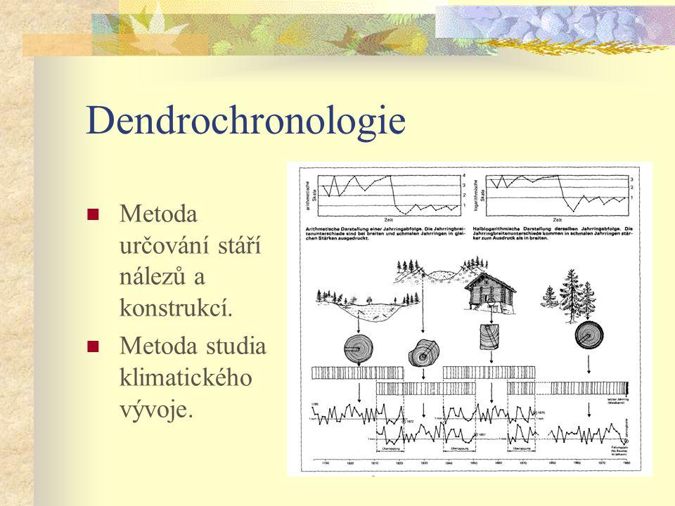 Dendrochronologie Metoda určování stáří nálezů a konstrukcí.