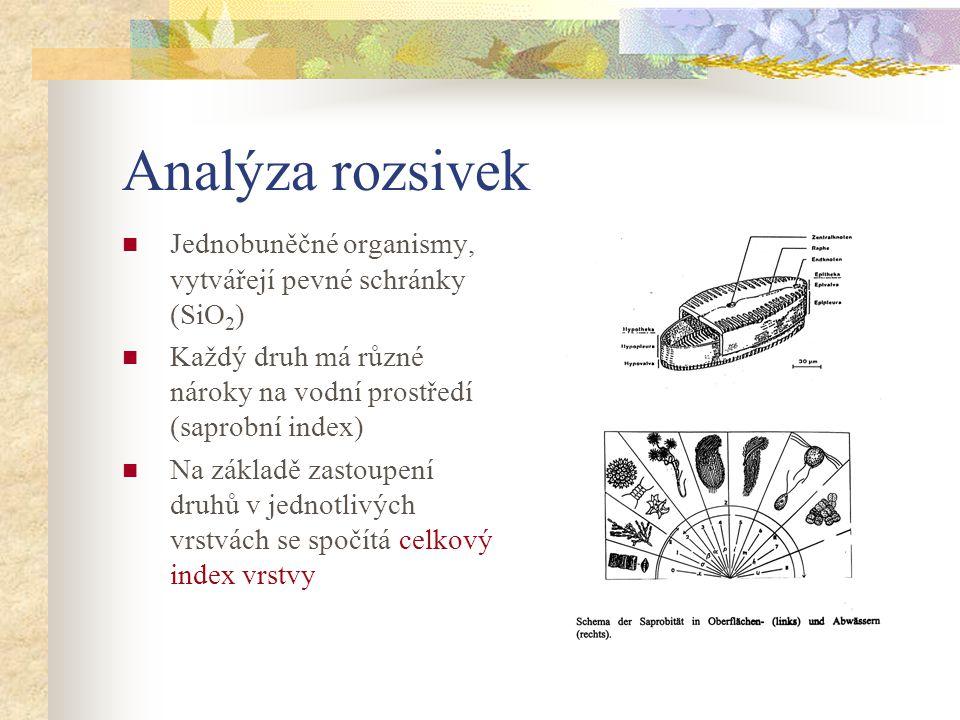 Analýza rozsivek Jednobuněčné organismy, vytvářejí pevné schránky (SiO2) Každý druh má různé nároky na vodní prostředí (saprobní index)