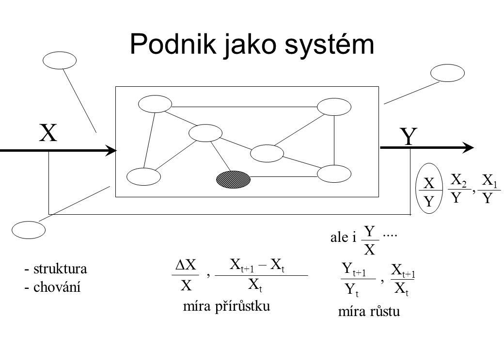 Podnik jako systém X Y X2 X1 X , Y Y Y Y .... ale i X DX Xt+1 – Xt