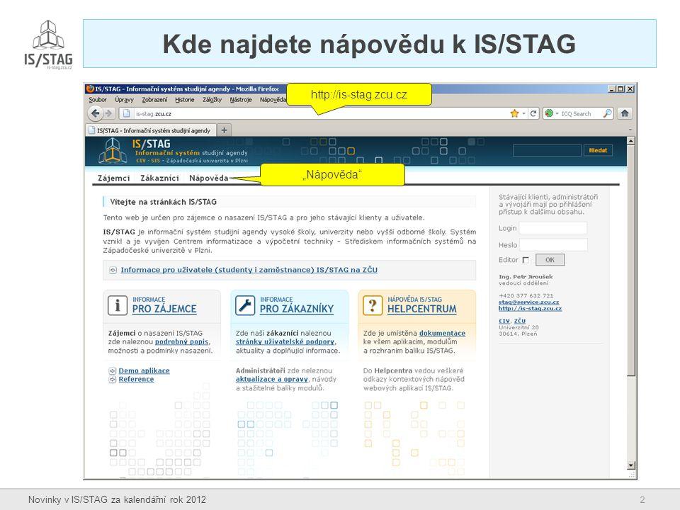Kde najdete nápovědu k IS/STAG