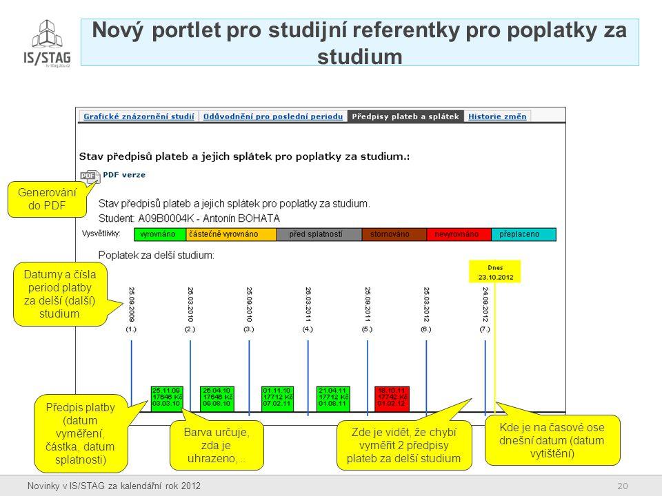 Nový portlet pro studijní referentky pro poplatky za studium