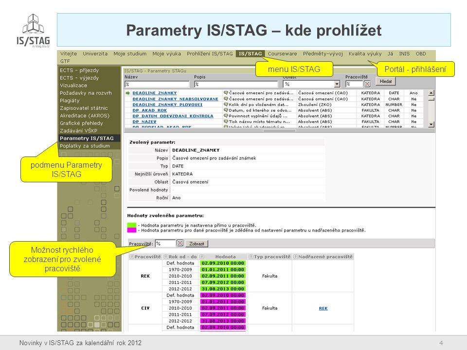 Parametry IS/STAG – kde prohlížet
