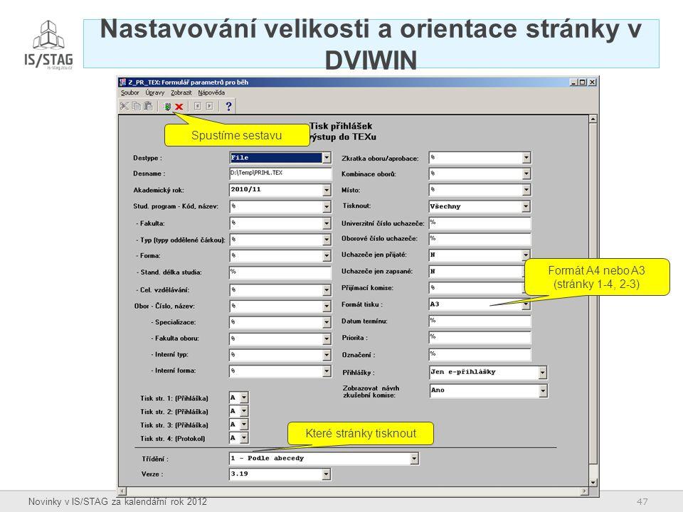 Nastavování velikosti a orientace stránky v DVIWIN