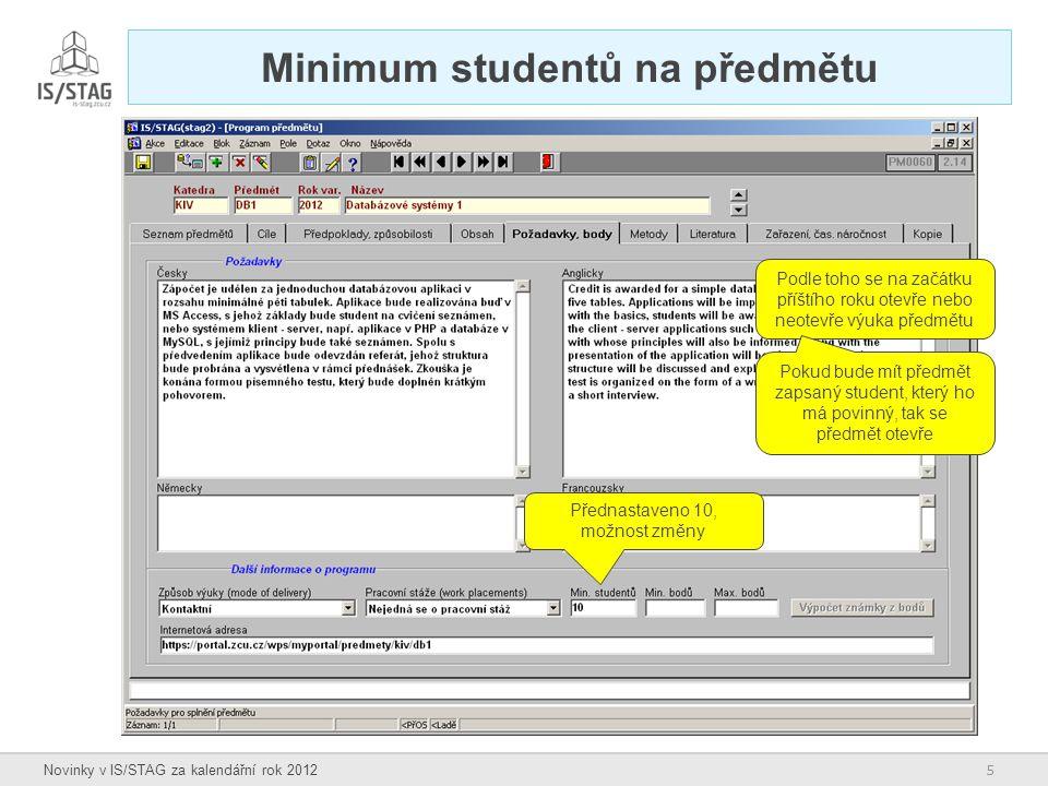 Minimum studentů na předmětu
