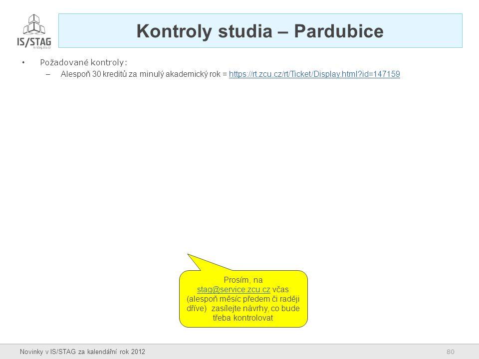 Kontroly studia – Pardubice
