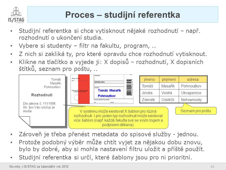 Proces – studijní referentka