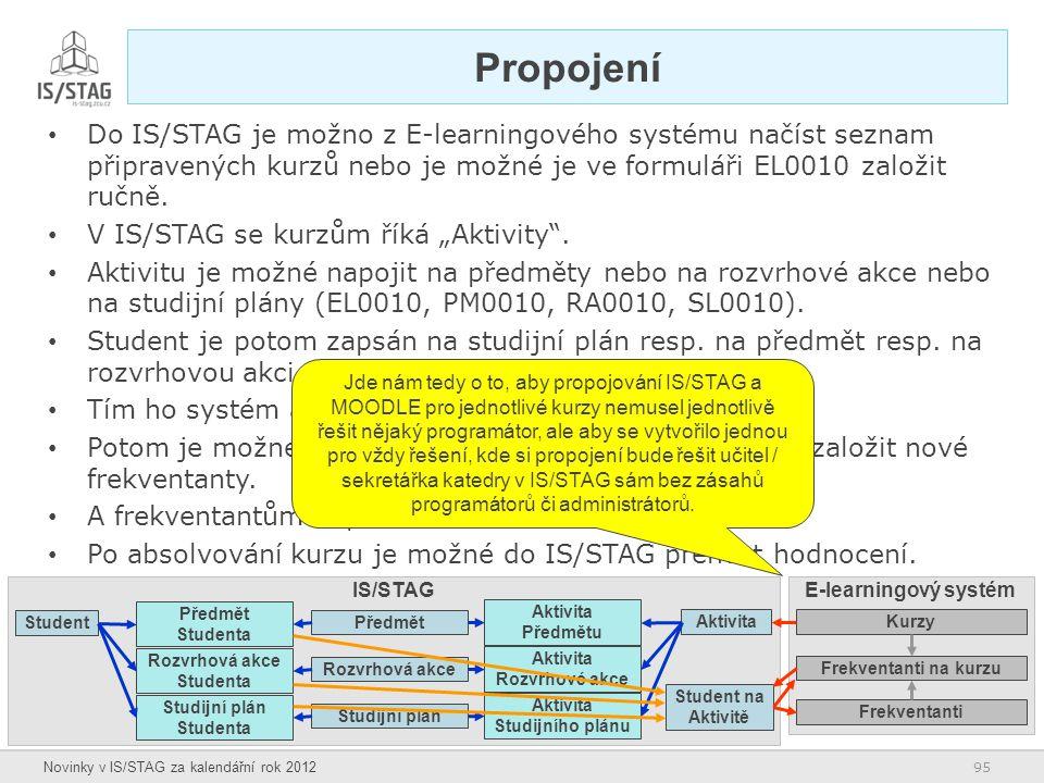Propojení Do IS/STAG je možno z E-learningového systému načíst seznam připravených kurzů nebo je možné je ve formuláři EL0010 založit ručně.