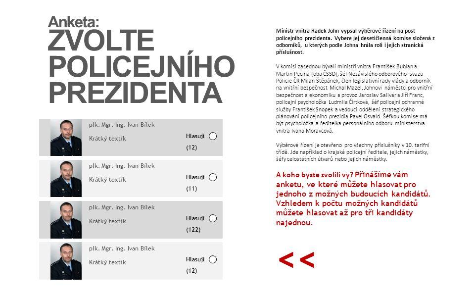 << ZVOLTE POLICEJNÍHO PREZIDENTA Anketa: