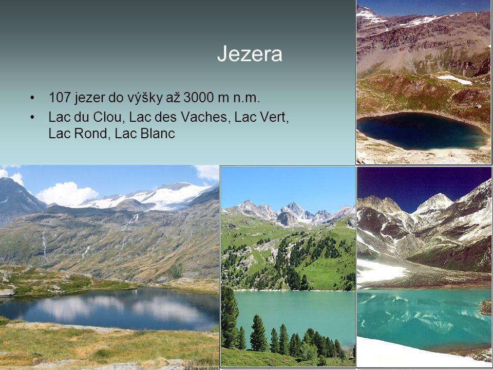 Jezera 107 jezer do výšky až 3000 m n.m.