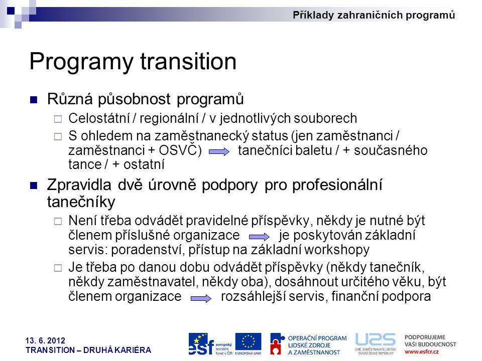 Programy transition Různá působnost programů
