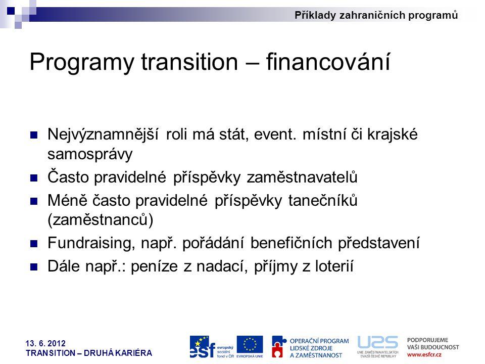 Programy transition – financování