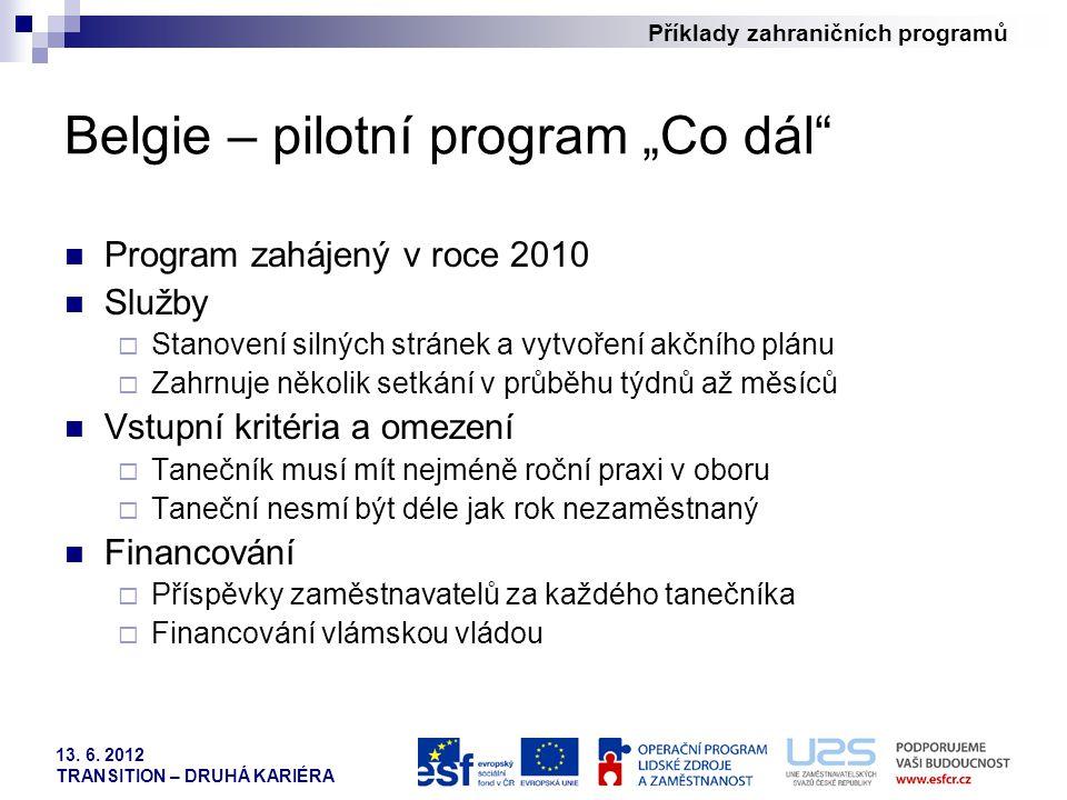 """Belgie – pilotní program """"Co dál"""
